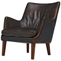 Arne Vodder Lounge Chair in Original Rich Patinated Leather