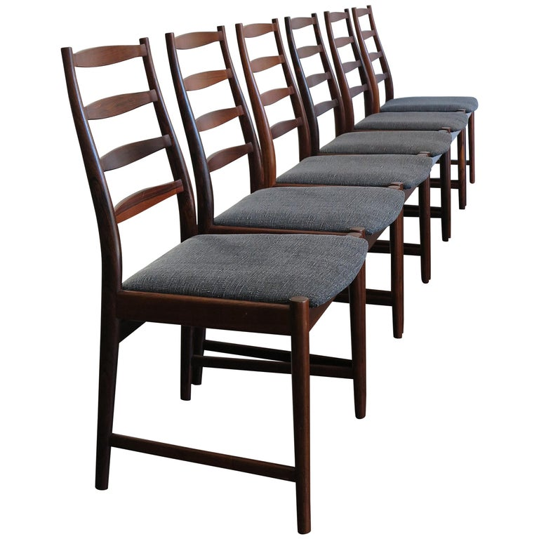 Arne Vodder Mid-Century Modern Scandinavian Dark Wood Dining Chairs, 1960s