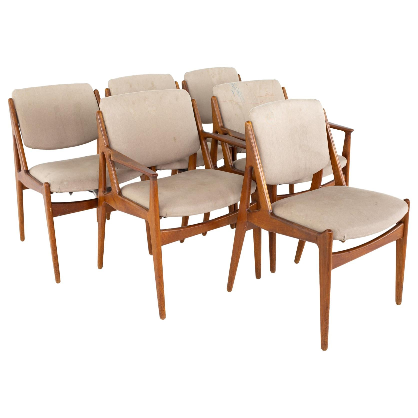 Arne Vodder Mid Century Teak Dining Chairs, Set of 6