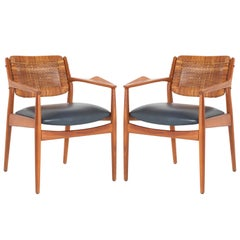 "Arne Vodder ""Model 51A"" Armchairs in Beech and Leather for Sibast, Pair"