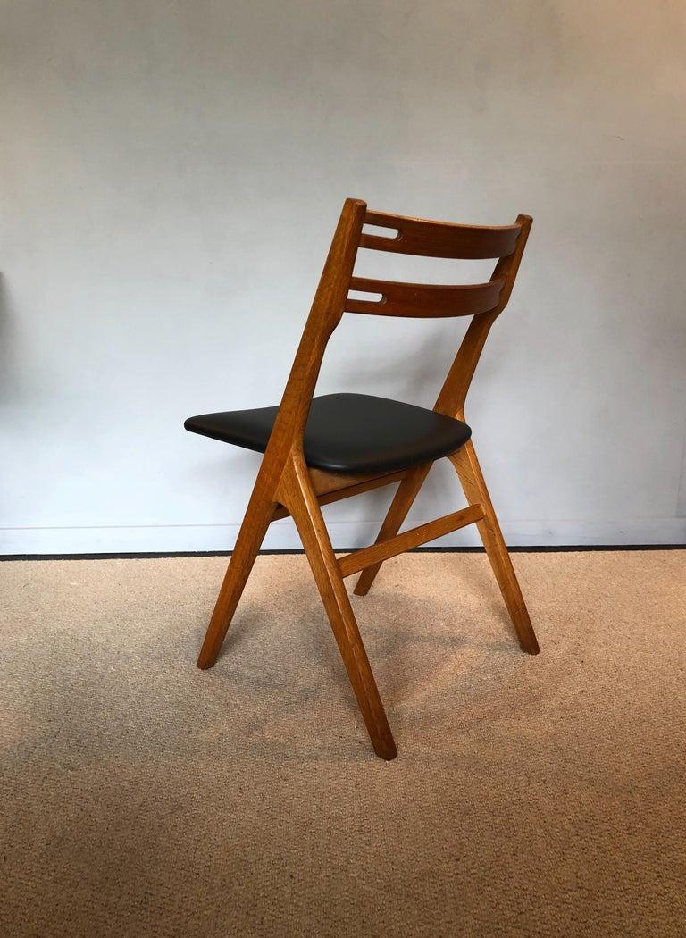 Leather Arne Vodder Oak Dining Chairs, Sibast, Set of 6 For Sale
