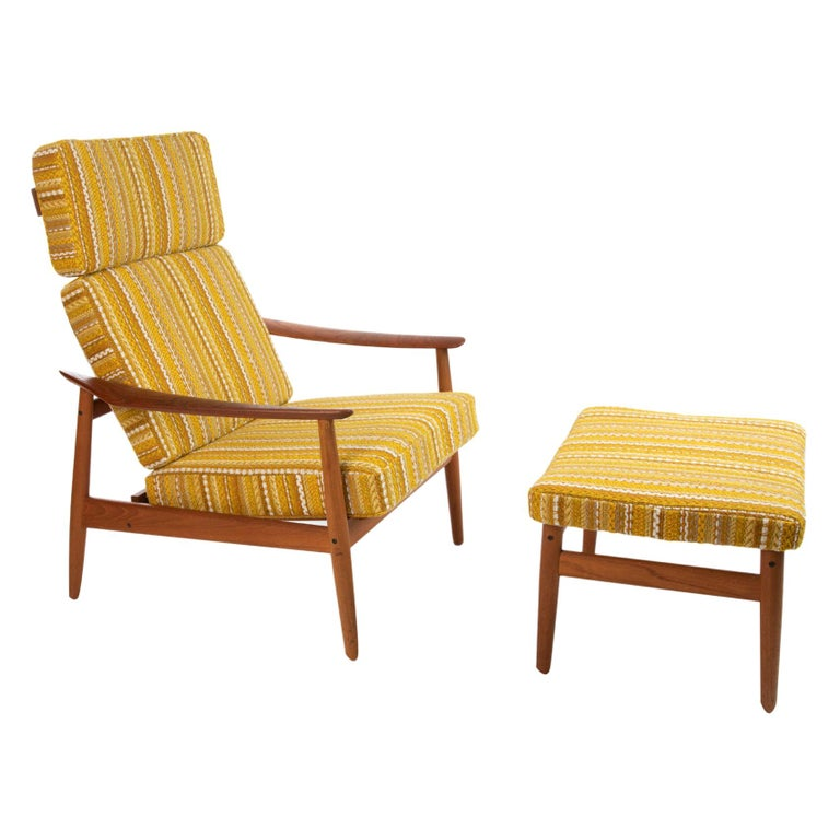 Arne Vodder Reclining Lounge Chair and Ottoman