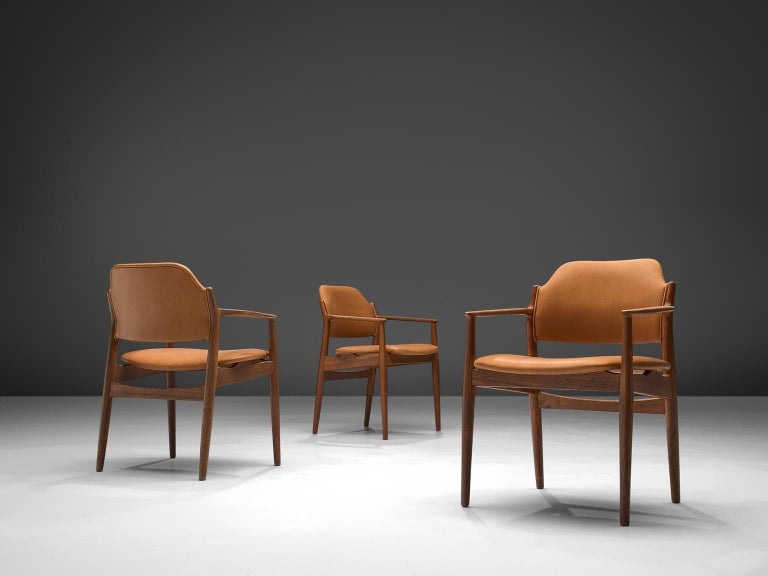 Danish Arne Vodder Reupholstered Set of Dining Chairs in Cognac Leather For Sale