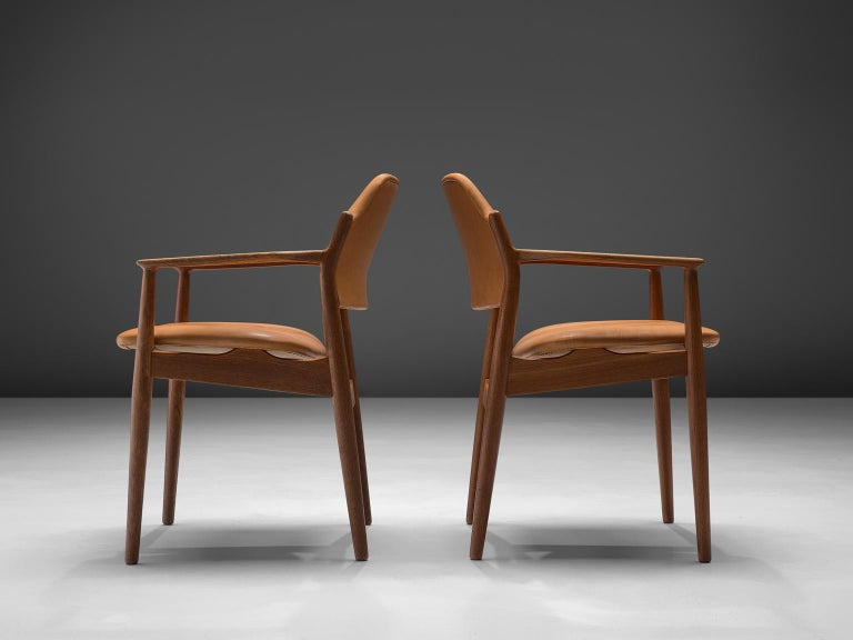 Arne Vodder Reupholstered Set of Dining Chairs in Cognac Leather In Excellent Condition For Sale In Waalwijk, NL
