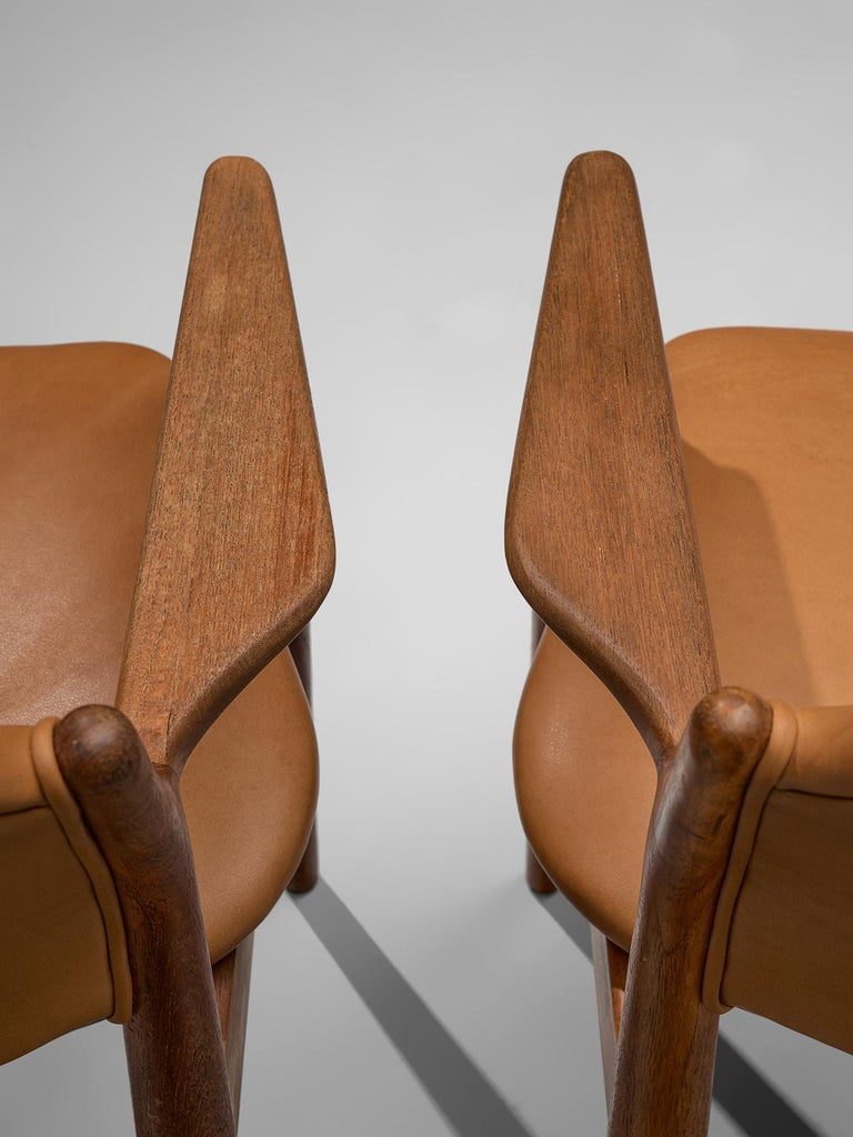 Mid-20th Century Arne Vodder Reupholstered Set of Dining Chairs in Cognac Leather For Sale