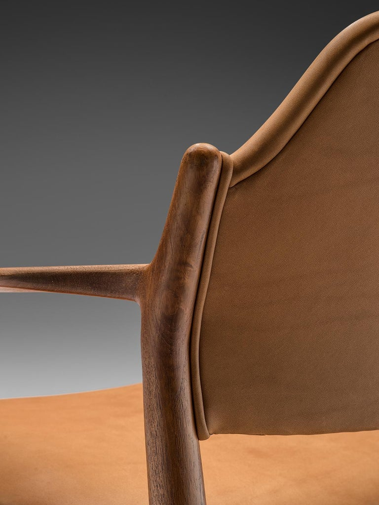 Arne Vodder Reupholstered Set of Dining Chairs in Cognac Leather For Sale 1