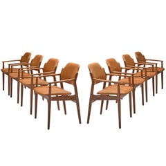 Arne Vodder Reupholstered Set of Dining Chairs in Cognac Leather