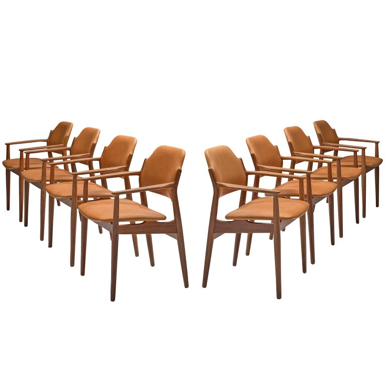 Arne Vodder Reupholstered Set of Dining Chairs in Cognac Leather For Sale
