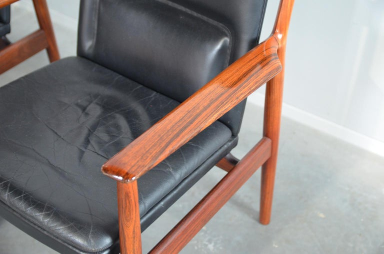 Leather Arne Vodder Rosewood Armchairs Model 431 For Sale