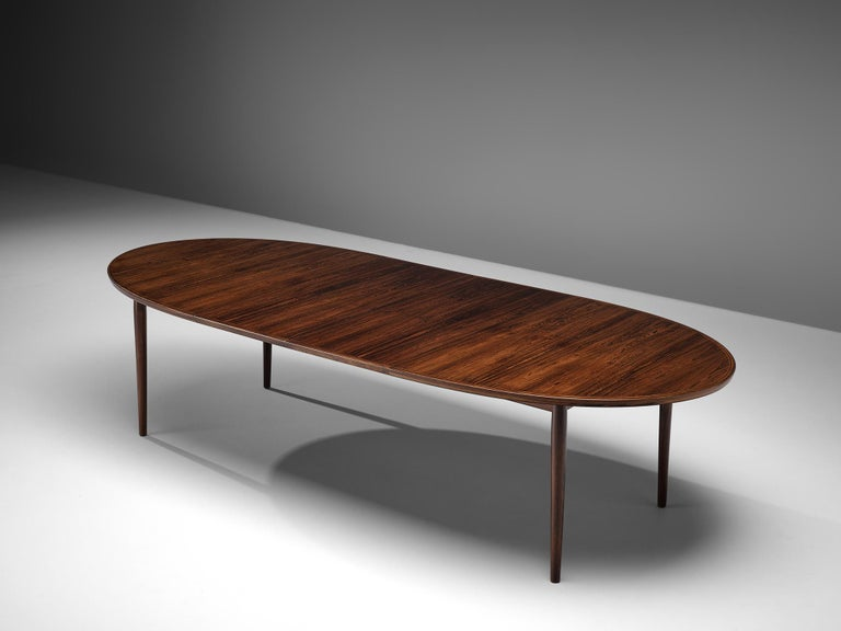 Dining table in rosewood by Arne Vodder for Sibast, Denmark, 1950s.
