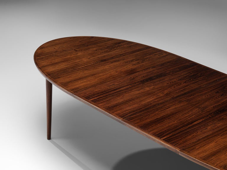 Scandinavian Modern Arne Vodder Rosewood Extendable Dining Table in Rosewood For Sale