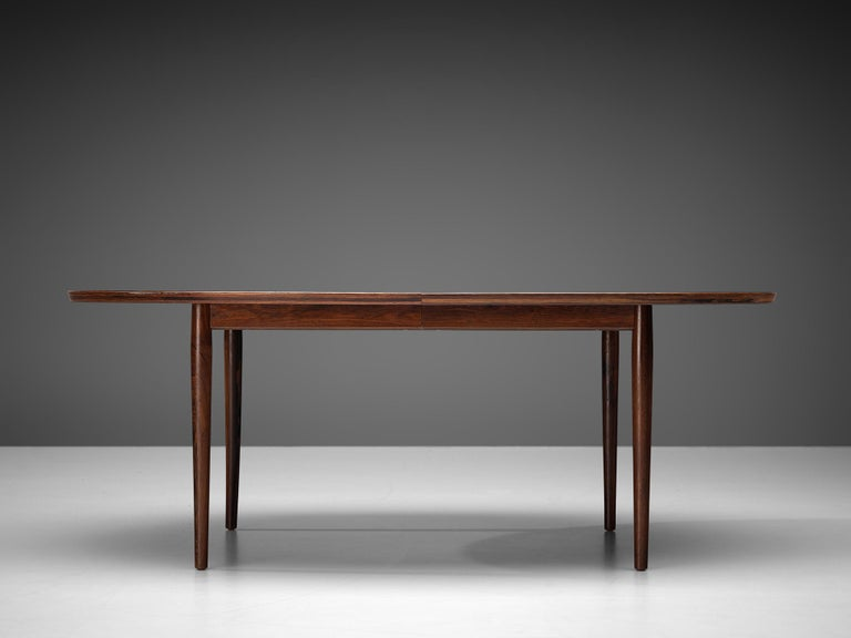 Arne Vodder Rosewood Extendable Dining Table in Rosewood For Sale 2