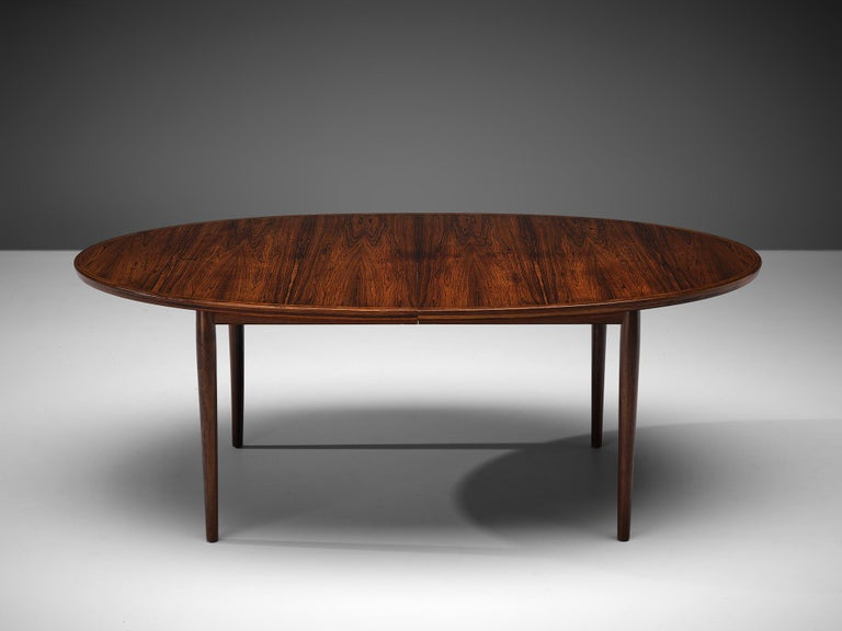 Arne Vodder Rosewood Extendable Dining Table in Rosewood For Sale 3