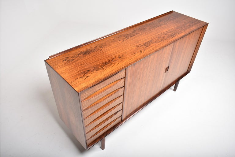 Mid-Century Modern Arne Vodder Rosewood Tambour Doors Sideboard OS 63 for Sibast, Denmark, 1960 For Sale
