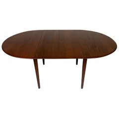 Arne Vodder Scandinavian Danish Modern Teak Extension Dining Table Round Oval