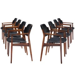 Arne Vodder Set of Eight Rosewood Dining Chairs with Black Leather