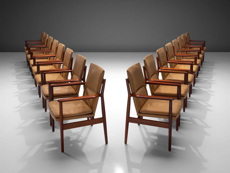 Scandinavian Modern Arne Vodder Set of Sixteen Dining Chairs with Original Leather For Sale