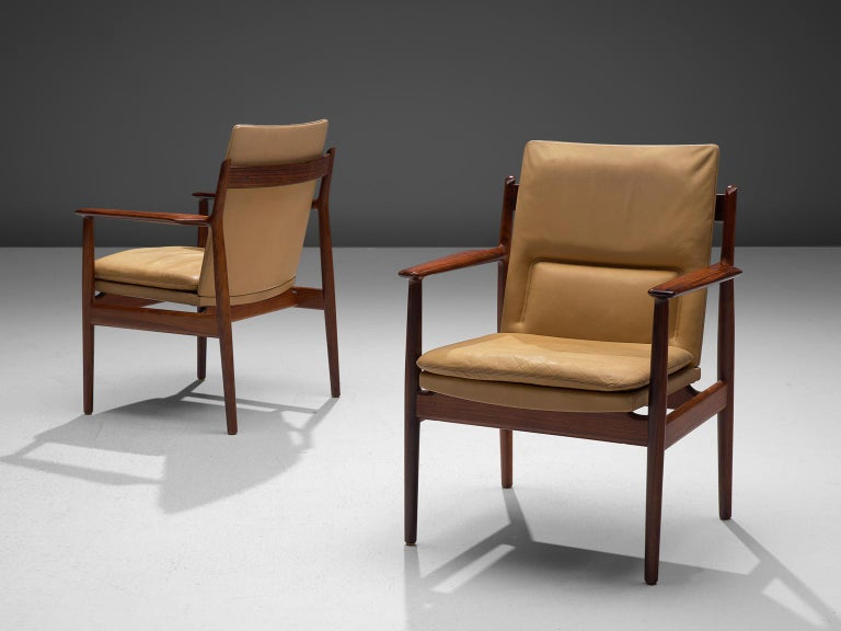 Danish Arne Vodder Set of Sixteen Dining Chairs with Original Leather For Sale