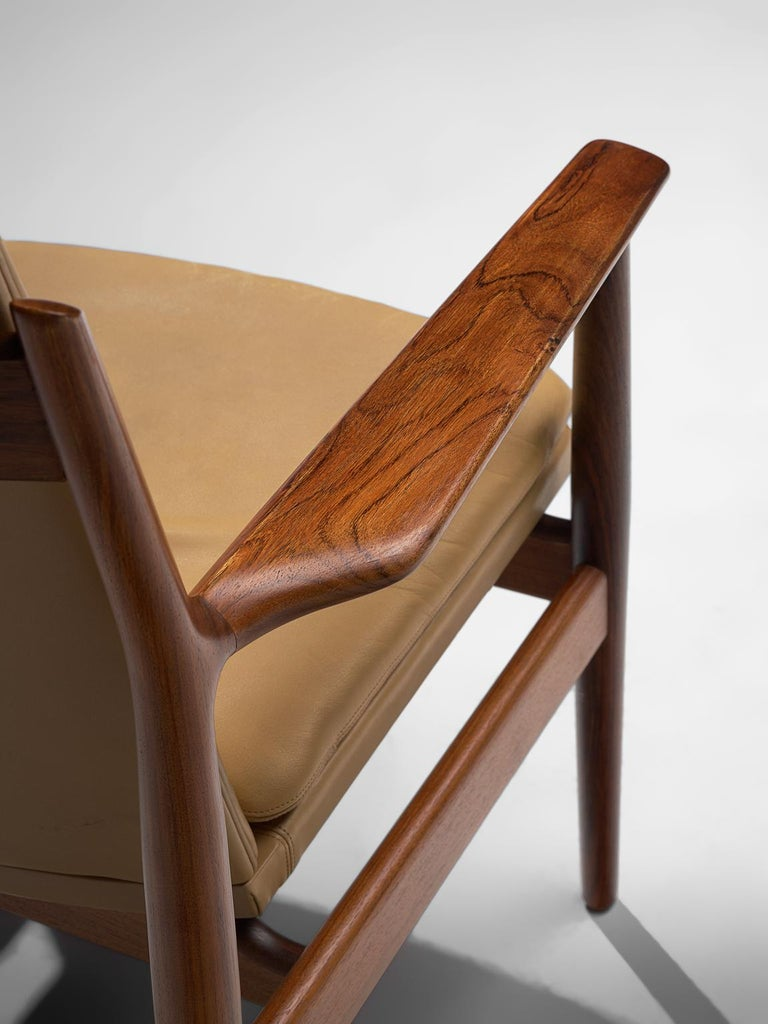 Mid-20th Century Arne Vodder Set of Sixteen Dining Chairs with Original Leather For Sale