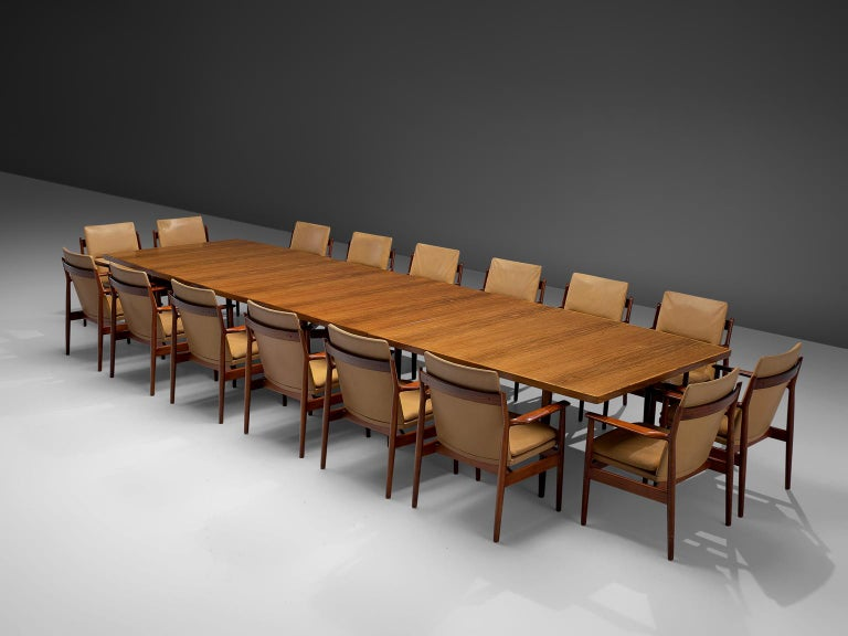 Arne Vodder Set of Sixteen Dining Chairs with Original Leather For Sale 3