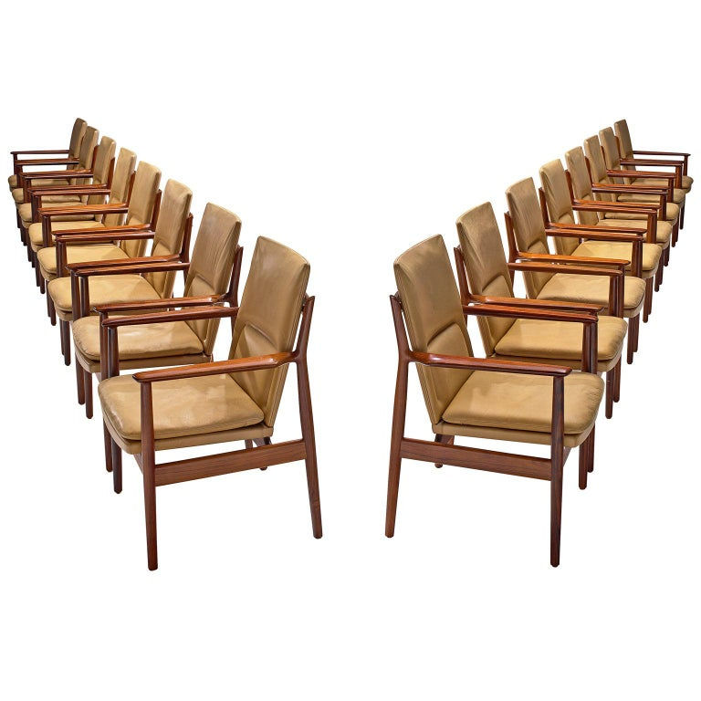 Arne Vodder Set of Sixteen Dining Chairs with Original Leather For Sale