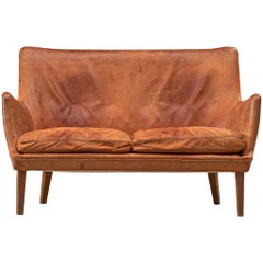 Arne Vodder Settee in Patinated Cognac Leather