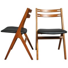 Danish Oak Dining Chairs by Arne Vodder, Reupholstered X6