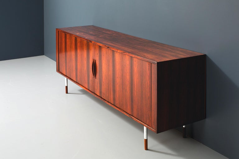 Arne Vodder Sideboard for Sibast Møbler in Rosewood and Metal, Denmark, 1960s In Good Condition For Sale In Amsterdam, NL
