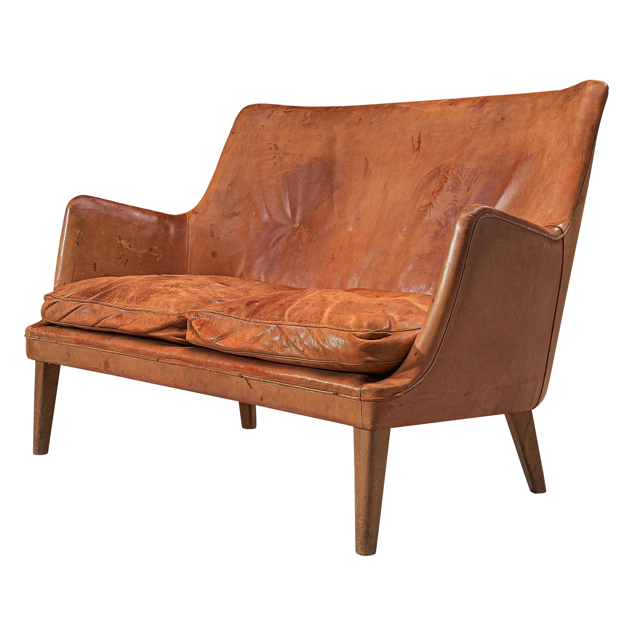 Arne Vodder Sofa in Patinated Cognac Leather