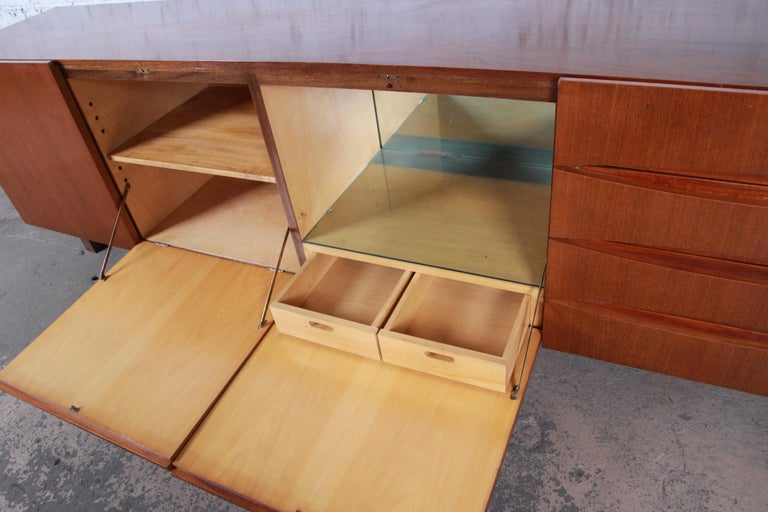 Arne Vodder Style Monumental Danish Teak Sideboard Credenza or Bar Cabinet For Sale 4