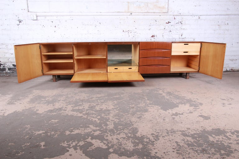Arne Vodder Style Monumental Danish Teak Sideboard Credenza or Bar Cabinet For Sale 5