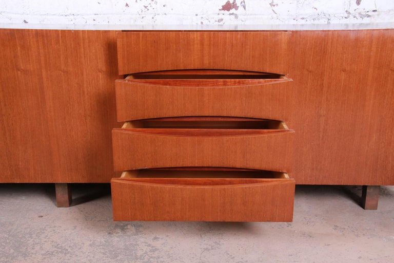 Arne Vodder Style Monumental Danish Teak Sideboard Credenza or Bar Cabinet For Sale 8
