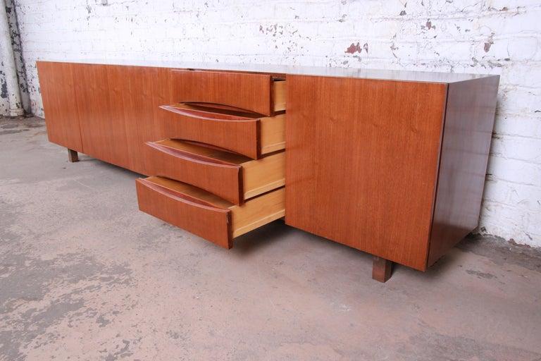 Arne Vodder Style Monumental Danish Teak Sideboard Credenza or Bar Cabinet For Sale 9