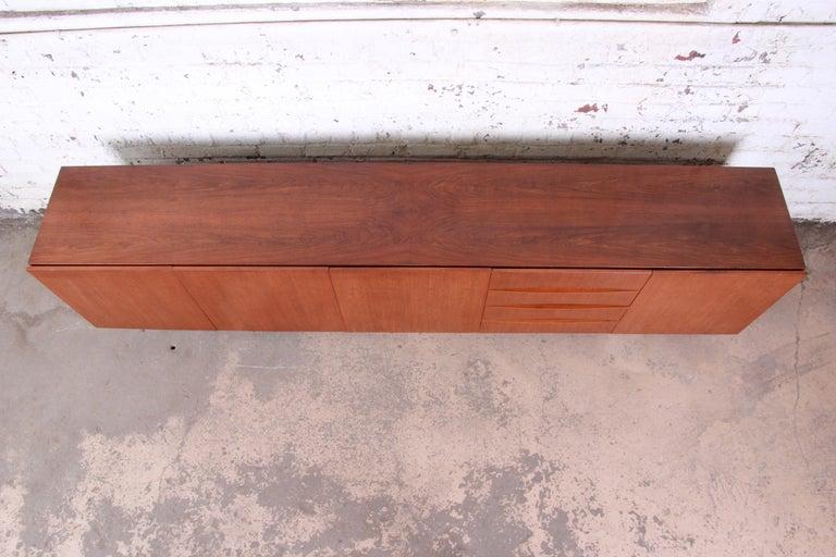 Arne Vodder Style Monumental Danish Teak Sideboard Credenza or Bar Cabinet For Sale 12