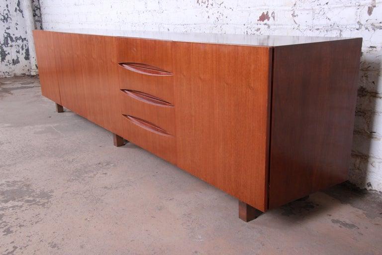 Mid-Century Modern Arne Vodder Style Monumental Danish Teak Sideboard Credenza or Bar Cabinet For Sale