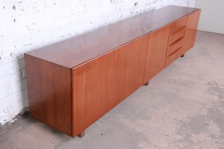 Arne Vodder Style Monumental Danish Teak Sideboard Credenza or Bar Cabinet In Good Condition For Sale In South Bend, IN