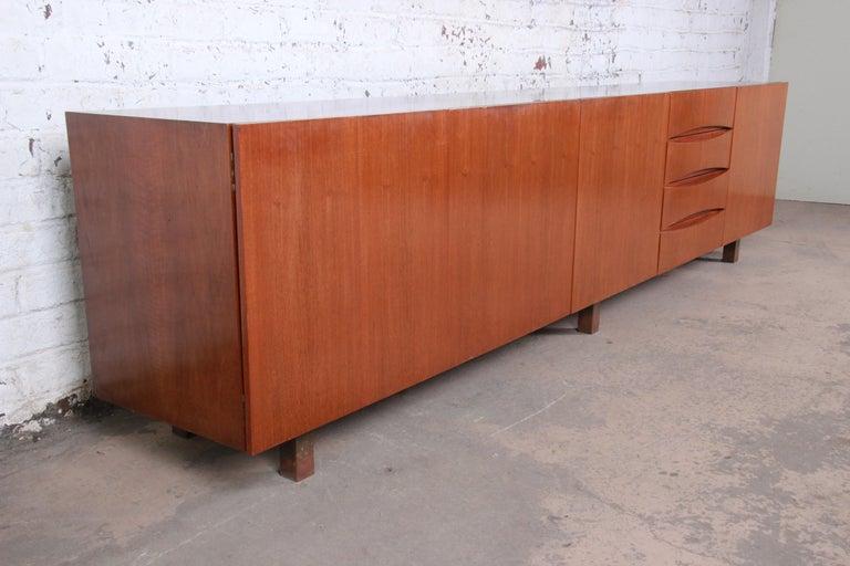20th Century Arne Vodder Style Monumental Danish Teak Sideboard Credenza or Bar Cabinet For Sale
