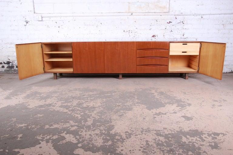 Metal Arne Vodder Style Monumental Danish Teak Sideboard Credenza or Bar Cabinet For Sale