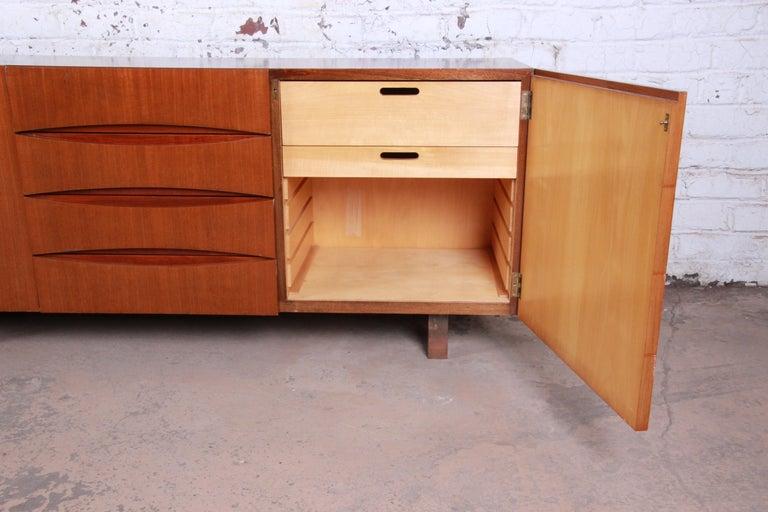 Arne Vodder Style Monumental Danish Teak Sideboard Credenza or Bar Cabinet For Sale 1