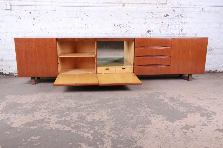 Arne Vodder Style Monumental Danish Teak Sideboard Credenza or Bar Cabinet For Sale 3