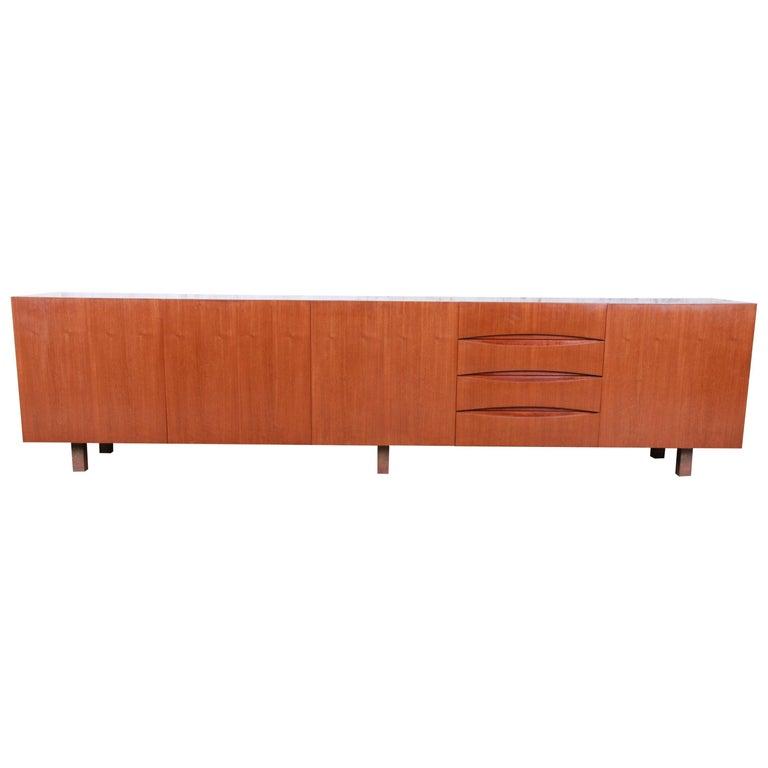 Arne Vodder Style Monumental Danish Teak Sideboard Credenza or Bar Cabinet For Sale