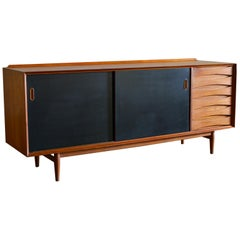Arne Vodder Teak Credenza with Reversible Doors, Denmark, 1960s