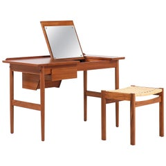 Arne Vodder Teak Wood Vanity / Writing Desk for Sibast Møbler