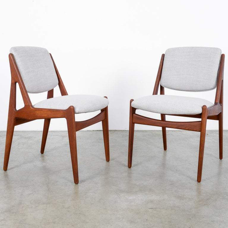 Mid-20th Century Arne Vodder Upholstered Teak Side Chairs, a Pair For Sale