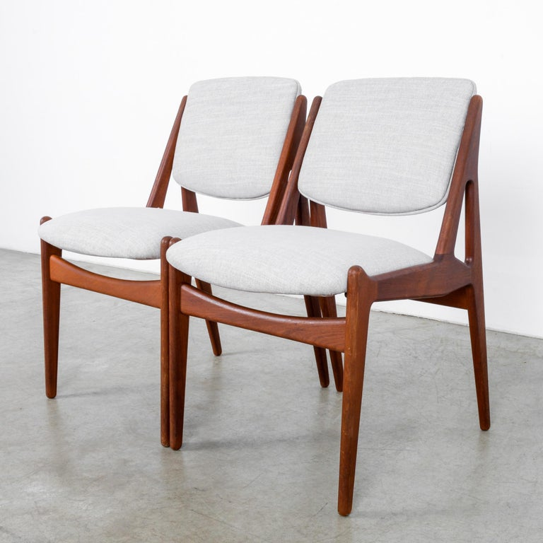 Fabric Arne Vodder Upholstered Teak Side Chairs, a Pair For Sale