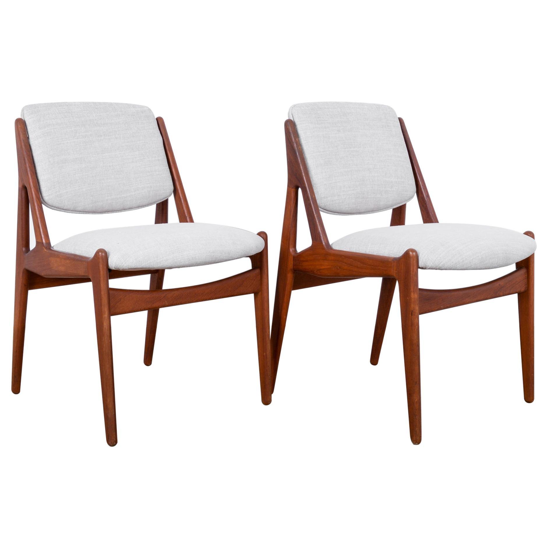 Arne Vodder Upholstered Teak Side Chairs, a Pair
