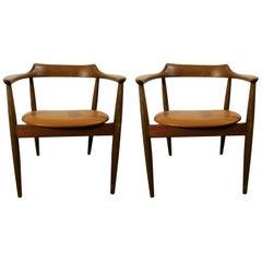 Arne Wahl Armchairs Model ST750 Mid-Century Modern 1960s Elm Wood, Leather