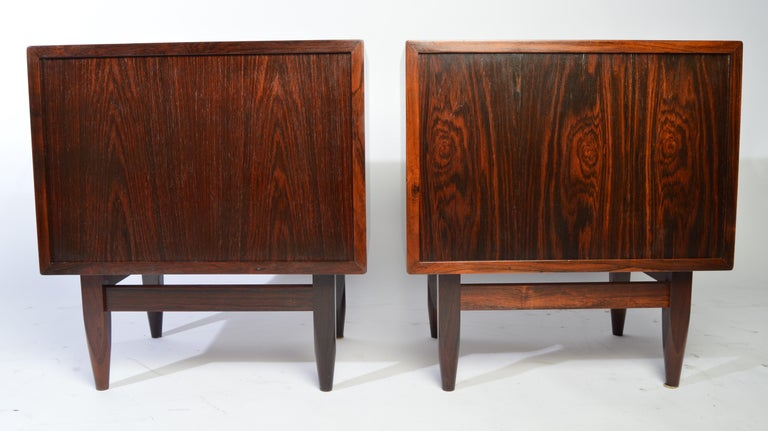 Arne Wahl Iversen Brazilian Rosewood Nightstands Having Tambour Doors For Sale 4