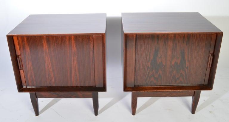 Scandinavian Modern Arne Wahl Iversen Brazilian Rosewood Nightstands Having Tambour Doors For Sale