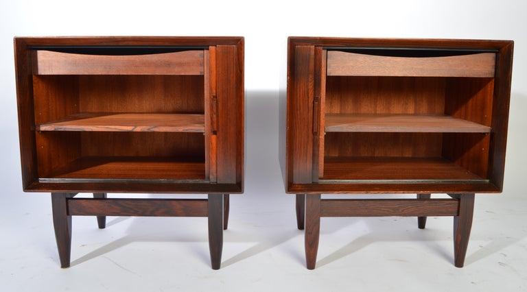 Danish Arne Wahl Iversen Brazilian Rosewood Nightstands Having Tambour Doors For Sale